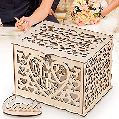 Glm Wedding Card Box With Lock Up To 300 Cards Diy Rustic Wooden Design Gift Card Holder Perfect For Wedding Reception Shower Anniversary Buy Online At Best Price In Uae Amazon Ae