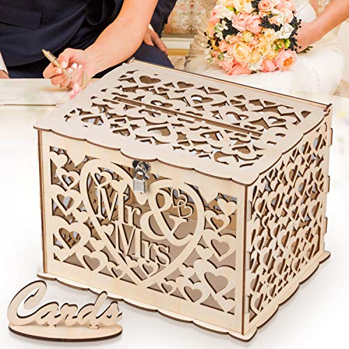 GLM Wedding Card Box with Lock | Up to 300 Cards | DIY Rustic Wooden Design Gift Card Holder | Perfect for Wedding Reception, Shower, ()