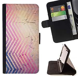 Momo Phone Case / Flip Funda de Cuero Case Cover - Líneas Rústico pintura descascarada púrpura - HTC One M7