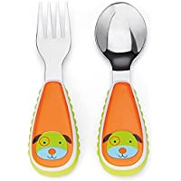 Skip Hop Baby Zoo Little Kid and Toddler Fork and Spoon Utensil Set, Multi Darby Dog