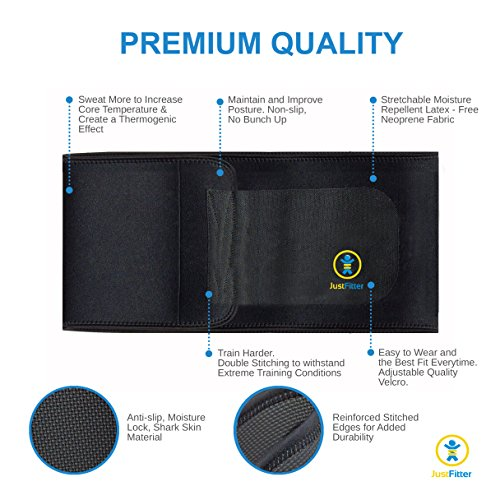 Just-Fitter-Premium-Waist-Trainer-Trimmer-Belt-For-Men-Women-More-Fully-Adjustable-Than-Other-Waist-Slimming-Sauna-Belts-Provides-Best-Support-For-Lower-Back-Lumbar-Results-Guaranteed