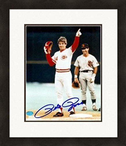 Pete Rose Autographed Picture - 8x10 4192 CF Image #2 Matted & Framed - Autographed MLB Photos