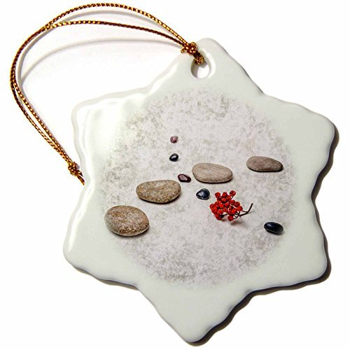 Alexis Photography Objects Zen Intersection of Stones and Pebbles, Cluster of red Rowan Berries. Zen Snowflake Porcelain Ornament