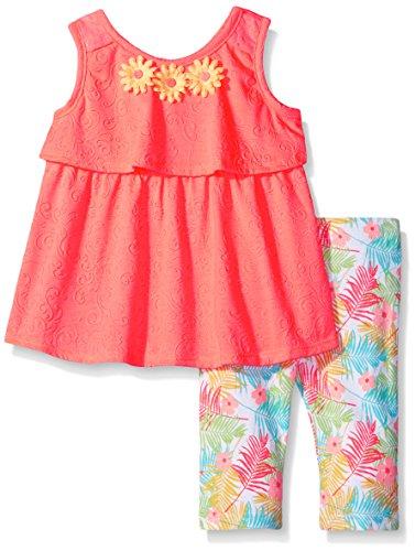 Little Lass Little Girls' 2 Piece Skimmer Set Embossed Knit, Coral Glow, 5