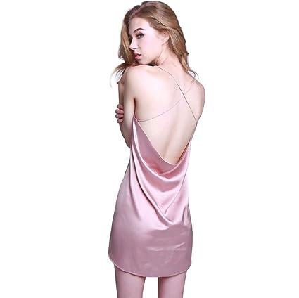 Pijamas del halter de la señora de la señora del verano (Color : Pink ,