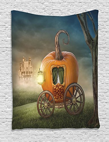 Kids Decor Tapestry by Ambesonne, Abstract Fairytale Image with Orange Pumpkin Light Scenery Princess Ella Image, Wall Hanging for Bedroom Living Room Dorm, 40 W x 60 L Inches, Multicolor (Hanging Princess Wall)