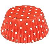 Fox Run 6924 Polka Dot Bake Cups, Standard, 50 Cups, Red