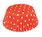 Fox Run 6924 Polka Dot Bake Cups, Standard, 50 Cups, Red