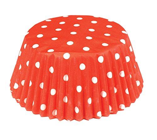 (Fox Run 6924 Polka Dot Bake Cups, Standard, 50 Cups, Red)