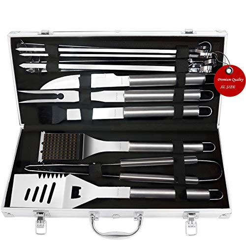 FiveHome BBQ Grill Tools Set 12-Piece XL Size Stainless-Steel BBQ Tool with Aluminum Case,Extra Thick & Rust Proof Design,Complete Outdoor Grilling Kit by FiveHome