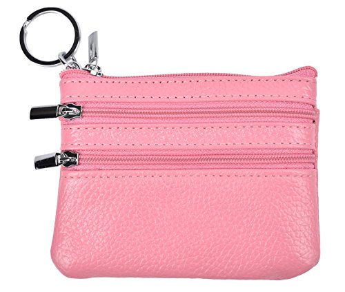 Mini Handbag Coin Purse - Yeeasy Womens Mini Coin Purse Wallet Genuine Leather Zipper Pouch with Key Ring (Pink)