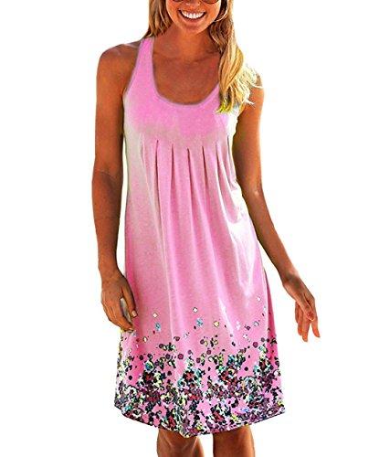 Yidarton Été Les Mini-manches Sexy Des Femmes Une Ligne De Robe De Robes De Plage Imprimé Floral Rose Occasionnels Sundress
