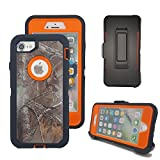 iPhone 8 Plus Cover, Harsel Heavy Duty Camouflage High Impact Rugged Hybrid Armor Military Case with Swivel Belt Clip Built-in Screen Protector for iPhone 7 / 8 Plus - Xtra Orange