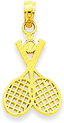 14k White Gold Two Tennis Racquets Sports Charm Pendant