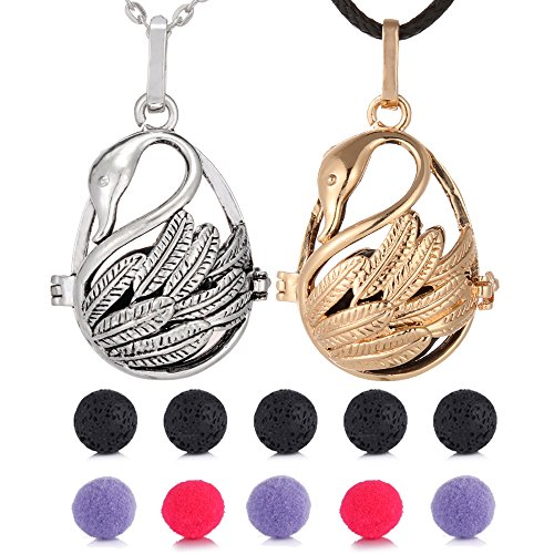 Antique Swans - 2pcs Antique Silver Swan Essential Oil Diffuser Pendant Necklaces Aromthraphy Lockets Necklace Jewelry with Lava stones Felt Ball Gift Pouch