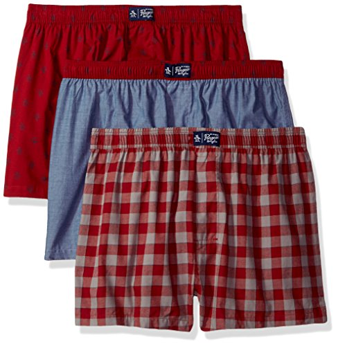 Designer Boxer Shorts (Original Penguin Men's Fashion 3 Pack Woven Boxers, Rio Red Gingham Rio Red Pete Chambray/Multi, M)