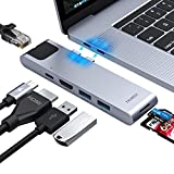 USB C Hub, MacBook Pro Adapter, Falwedi 7-in-2 USB-C Hub with Thunderbolt 3 5K@60Hz 100W PD, Ethernet Port, 4K@30Hz HDMI, 2xUSB 3.0 Ports, SD/TF Card Reader for MacBook Air 2018 and MacBook Pro