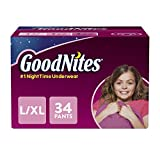 GoodNites Bedtime Bedwetting Underwear for Girls, L-XL, 34 Count