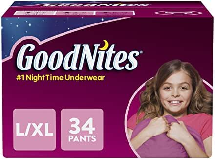 GoodNites Bedtime Bedwetting Underwear for Girls, L-XL, 34 Ct. (Packaging May Vary)