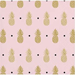 Pink Pineapple Themed Beverage/Dessert Napkins 32 count