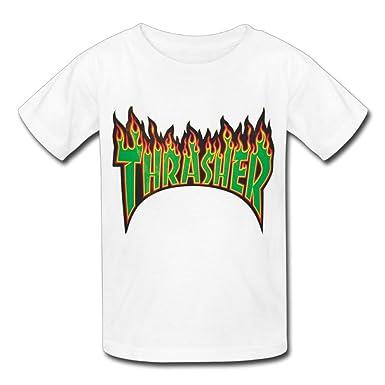 f8e60c30407 GiiC Kids T-Shirts Thrasher Cool Pattern Clothing - White -: Amazon.co.uk:  Clothing