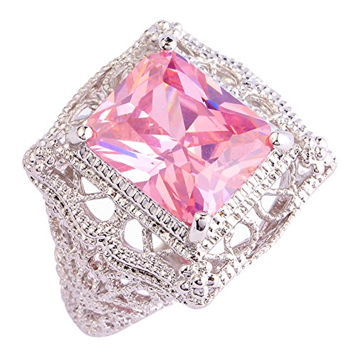 Psiroy Women's 925 Sterling Silver 5ct Pink Topaz Filled (Sterling Silver Pink Stone Ring)