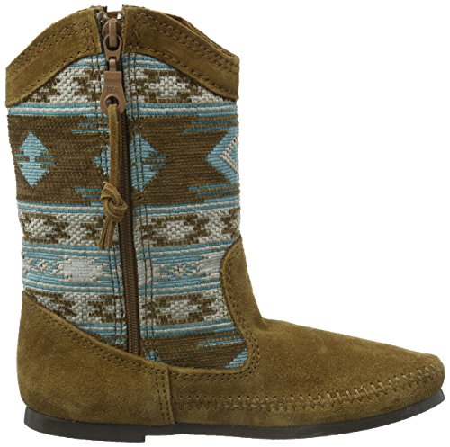 Dusty Baja Women's Turquoise Suede Brown Boot Minnetonka Fabric Slouch wBIx7R6xq