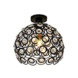 Pendant Lights Ceiling Lights Chrome ring buckle Iron paint Ceiling light Creative personality hall crystal Balcony lamp (Color : Black, Size : 2020 cm)