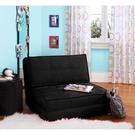 Your Zone Flip Chair Rich Black Perfect for Any Room, Apartment or Small Space by Mainstay