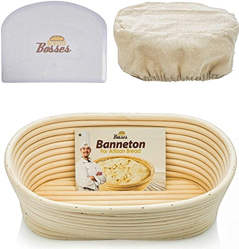 10 inch Oval Banneton Proofing Basket - Set for Professional & Home Bakers (Sourdough Recipe) Bowl Scraper & Brotform Cloth Liner