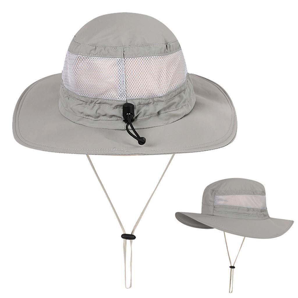 Tomppy Mesh Breathable Fishing Boonie Cap for Hiking Traveling Outdoor Adjustable Drawstring Sun Hat