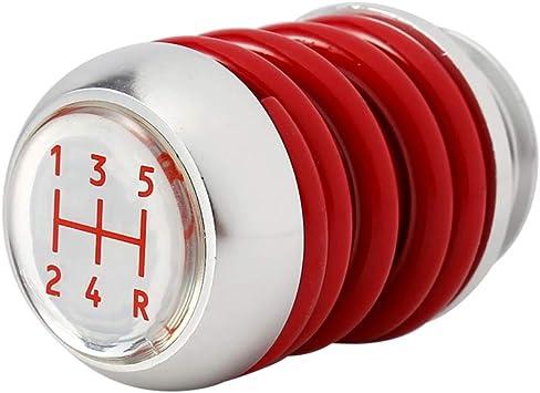 Autom/ático Qiilu Universal 5 velocidades Pomos de palanca de cambios del engranaje interior del Manual rojo