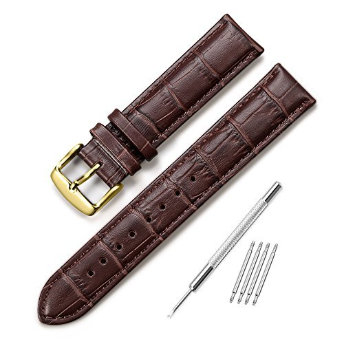 iStrap Watch Band Leather Watch Strap Alligator Grain Genuine Leather Replacement 12mm-18mm for Students for Men for Women (13mm, Brown with Gold Buckle)