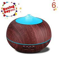 Tenswall 400ml Ultrasonic Aromatherapy Essential Oil Diffuser, Cool Mist Humidifier Whisper Quiet Operation - Wood Grain-Changing LED Light & Auto Shut-Off Function 4 Timer Settings (red)