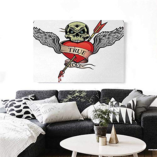 homehot Tattoo Canvas Wall Art for Bedroom Home Decorations Angel Wings with Skull Heart Full of Blood Symbol of Real Love Valentines Art Stickers 36
