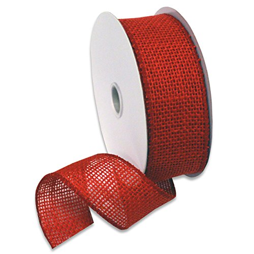 Morex Ribbon Burlap Wired Ribbon, 1-1/2-Inch by 10-Yard Spool, Rose Red