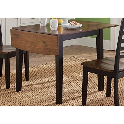 BOWERY HILL Drop Leaf Dining Table in Black and Cherry