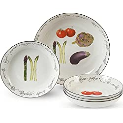 Pasta Collection, 5-Piece Alfresco Pasta Plates Set, White