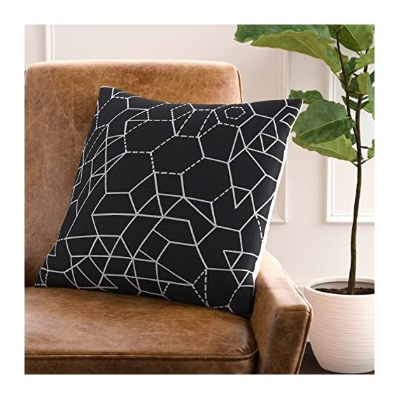 "Rivet Modern Geometric Decorative Print Throw Pillow, 20"" x 20"", Black - High-contrast geometric shapes are the hallmark of this striking contemporary pillow. Woven white lines on a black background keep you guessing where the pattern repeats. 20"" x 20"" Front: 42% Polyester/29% Cotton/29% Rayon; Back: 100% Polyester - living-room-soft-furnishings, living-room, decorative-pillows - 51By0TjrEXL. SS570  -"