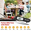 Habor Meat Thermometer, Food Instant Read Reaction with Digital LCD, Folding Long Probe for BBQ Grill Smokers Kitchen Turkey Chicken Cake Brewing Milk