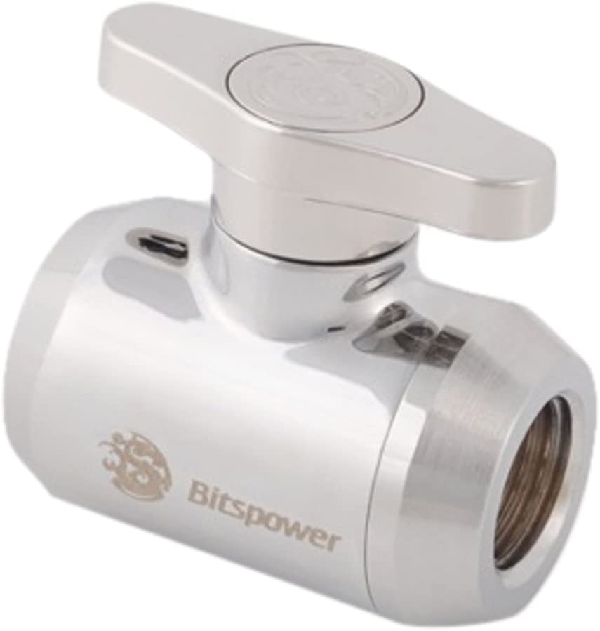 """Bitspower G1/4"""" Mini Valve with Silver Handle, Silver Shining Body"""