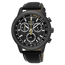 Seiko SSB213 Men's Leather Strap Chronograph Wrist Watch