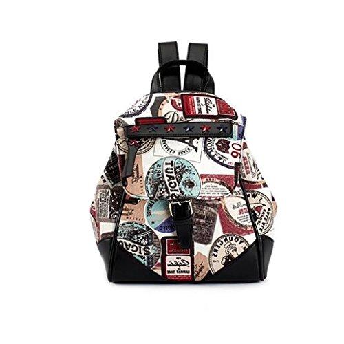 GUO - 2017 nouveau sac de la PU du sac de voyage étudiants europeos et américains de la mode mochila escolar mochila (25 * 15 * 29CM) (Suède imprimé)