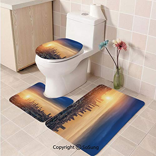 3pcs/Set City Style Soft Comfort Flannel Toilet Mat,Sunrise at Los Angeles Urban Architecture Tranquil Scenery Majestic Sky,Plush Bathroom Decor Mat with Non Slip Backing,Navy Blue Apricot Ivory