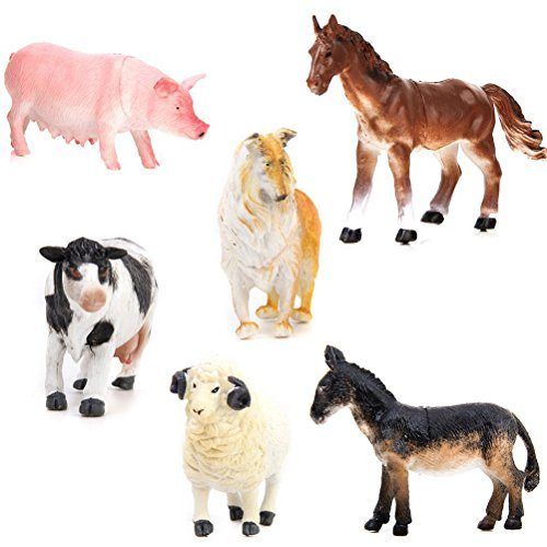 Pixnor 6pcs Animal Figures Kids Toy Farm Toys Model Set Pig Dog Cow Sheep Horse Donkey