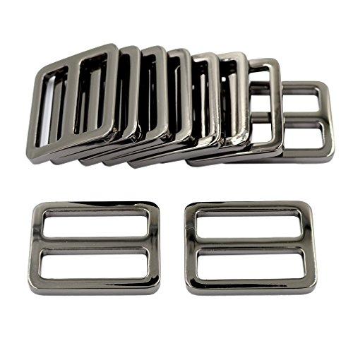 DGOL 10pcs 1 Zinc Alloy Slider Tri-Glide Buttons Webbing Strap Tri Glide Adjustable Buckle Fasteners (Gun Metal)