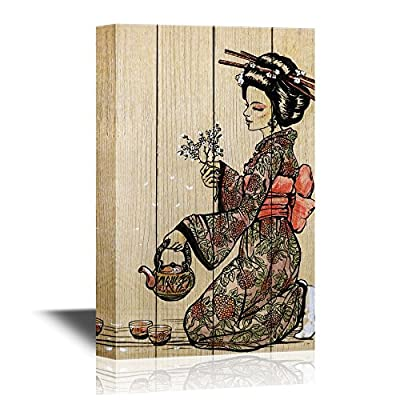 Japanese Culture Canvas Wall Art - Traditional Japanese Woman Dressed in Kimono with Teapot - Gallery Wrap Modern Home Art | Ready to Hang - 12x18 inches