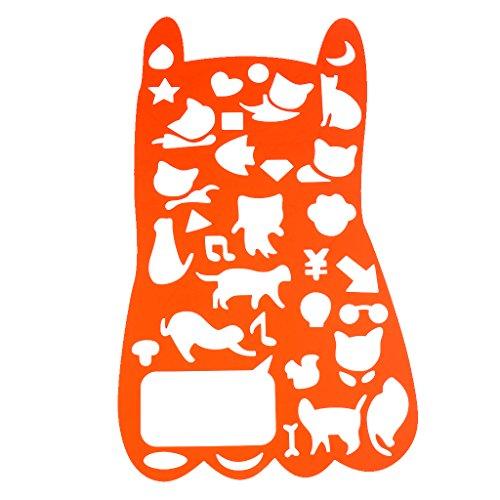 Fityle 全8種選べ ステンシルアート テンプレート 描画ツール ルーラークラフト 贈り物 文房具 おもちゃ - ネコ 26cmx18cm