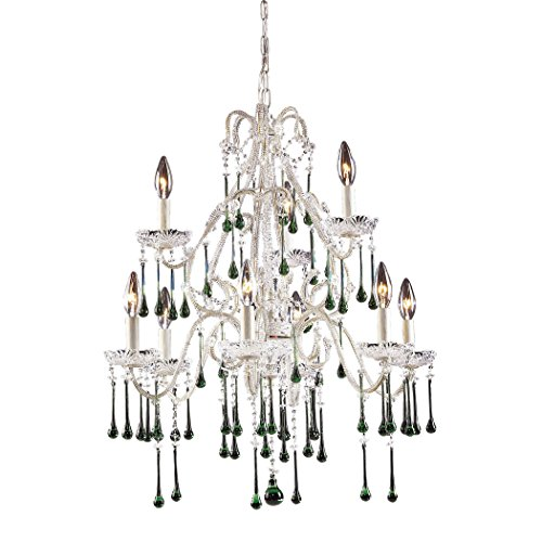 Opulence 9 Light (Alumbrada Collection Opulence 9 Light Chandelier In Antique White And Lime Crystal)