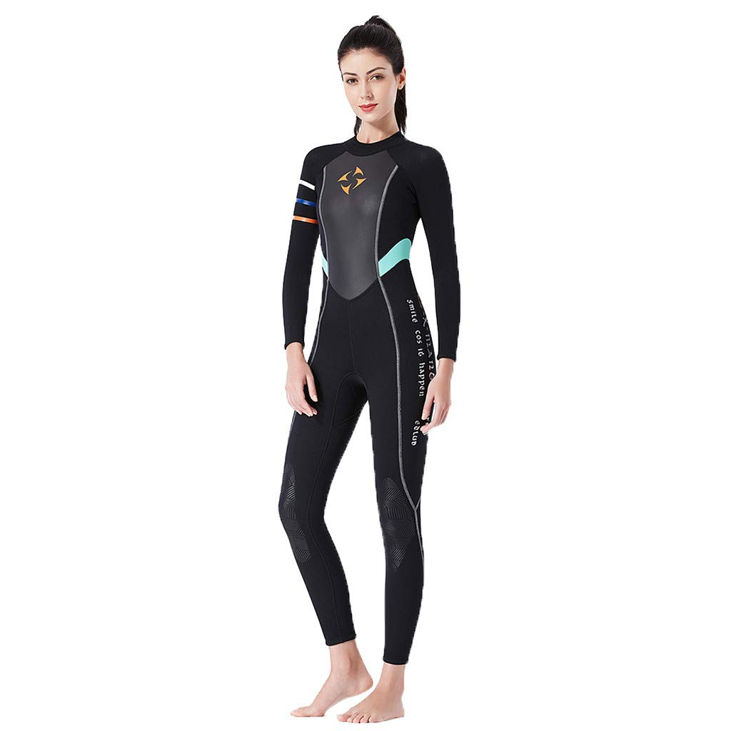 Women 3mm Diving Suit Full Body Scuba Wetsuit Surf Snorkeling Swimming Jumpsuit One Piece (Black, S)